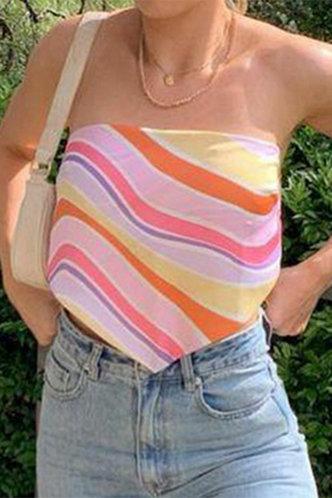 back_Gracia Ella Colorful Striped Tube Top