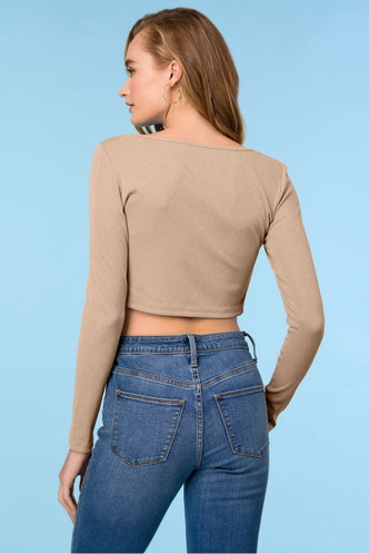 back_Fly By Apricot Rib-knit Tee