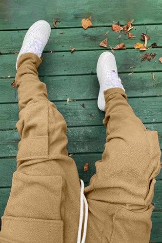 back_Mid Waist Plain Pocket Camel Sweatpants
