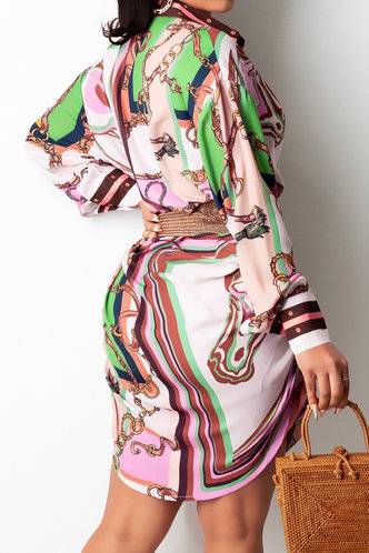 back_Vacation Long Sleeve Lantern Sleeve Multicolor All over print Dresses