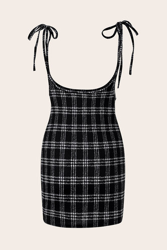 back_Udo Black Plaid Split Hem Overall Dress