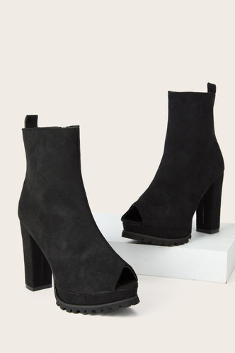 back_High Heel Open Toe Peep Toe Black Boots