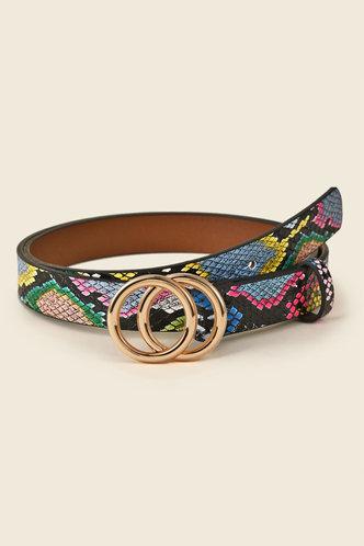 front_Patience Elva Snakeskin Print Double O-ring Buckle Belt 1pc