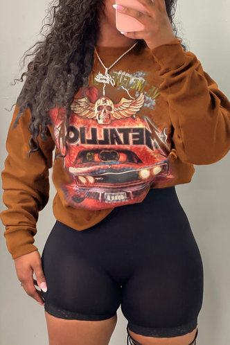 front_Casual Street Round Neck All Over Print Brown Sweatshirts & Hoodies
