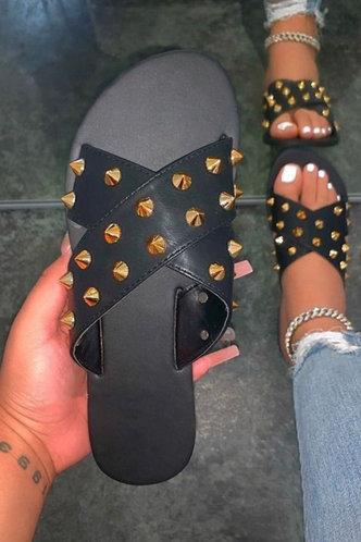 front_Enid Pluming Black Slide Sandals
