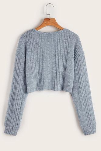 back_Feel My Love Blue Grey  Sweater