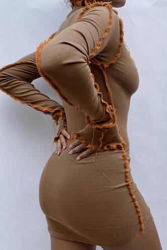 back_U Neck Regular Sleeve Brown Dresses