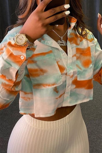 front_Tie Dye Long Sleeve Blue And Brown Blouses