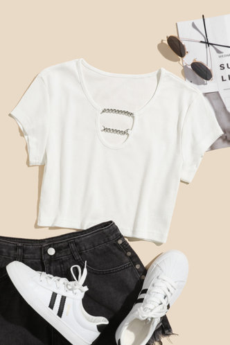 back_Matilda Elaine White Crop Tee