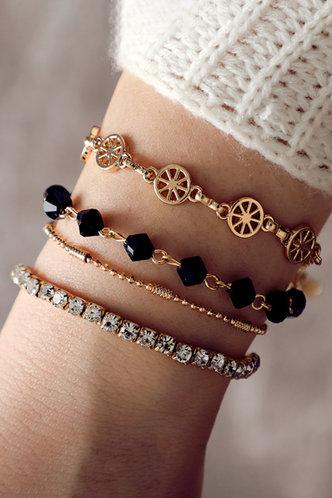 front_Amity Elsie Gold Rhinestone Charm Beaded Bracelet 4pcs