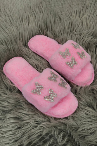 back_Graphic Print Flat Pink Slippers