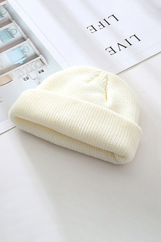 back_Casual Solid Color White Hats & Gloves