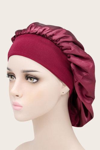 front_Beryl Flugil Wine Red Hair Bonnet