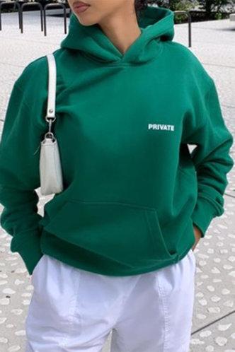 front_Casual Hoodie Plain Pocket Green Sweatshirts & Hoodies
