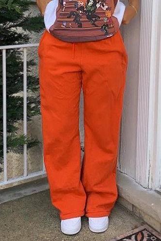 front_High Waist Plain Drawstring Orange Sweatpants