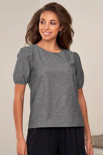 front_Closing Time Washed Black Short Sleeve Top