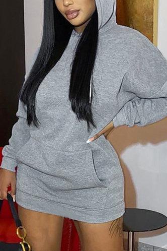 front_Pocket Mini Hooded Collar Dropped Shoulder Grey Plain Dresses