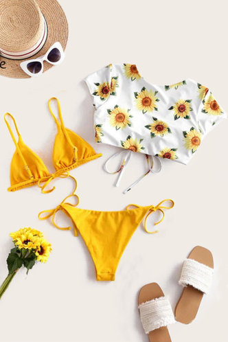 back_Sunflower Print Yellow And Sunflower Print Bikini Sets