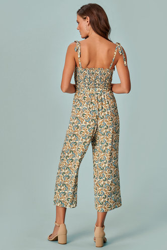 back_Floral Fun Cream Floral Print Jumpsuit