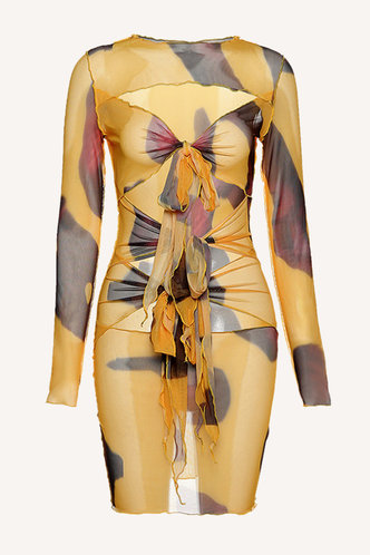 back_Cathie Ella Yellow And Brown Tie Front Cutout Dress