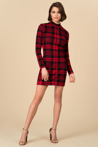 front_As If Red And Black Plaid Bodycon Dress