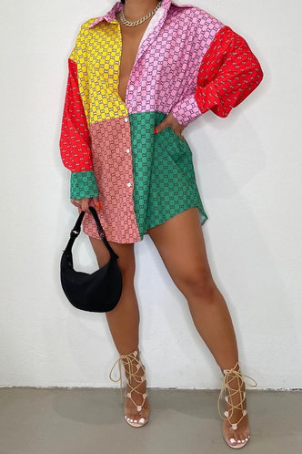 front_Lapel Neck Long Sleeve Regular Sleeve Colorblock Blouses