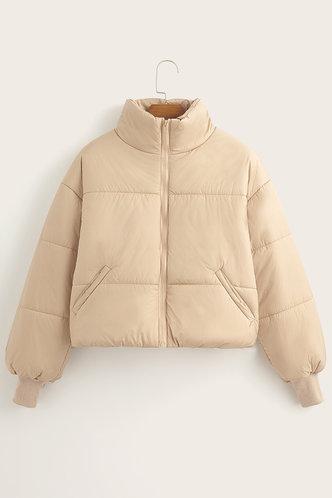 back_Casual Collar Neck Plain Pocket Khaki Outerwear