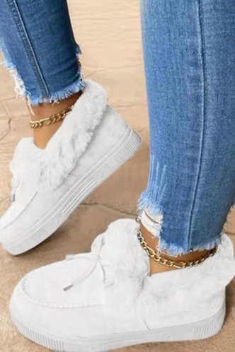 back_Plain Flat Round Toe White Boots