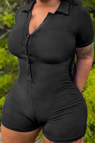 back_V Neck Plain Slim Black Rompers