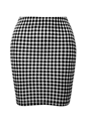 front_Be Mine Black And White Plaid Bodycon Skirt