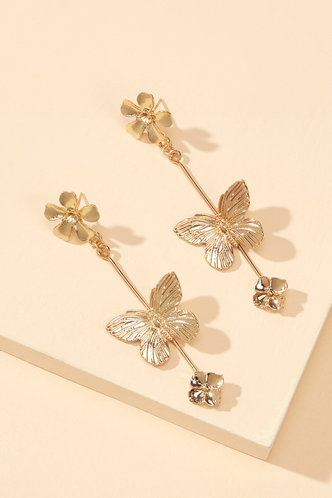 back_Anita Eleanore Gold Butterfly Charm Drop Earrings 1pair