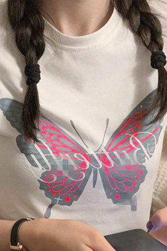 back_Paula Edith White And Butterfly Print Tee