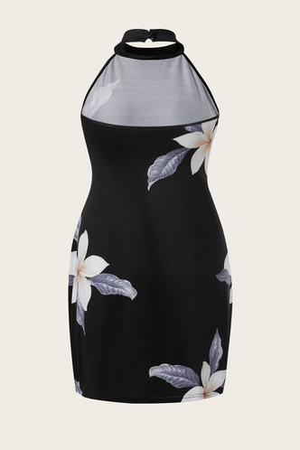 back_Francene Elvira Black Floral Print Plus Size Dress