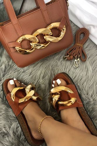 front_Josie Esther Brown Footbed Sandals
