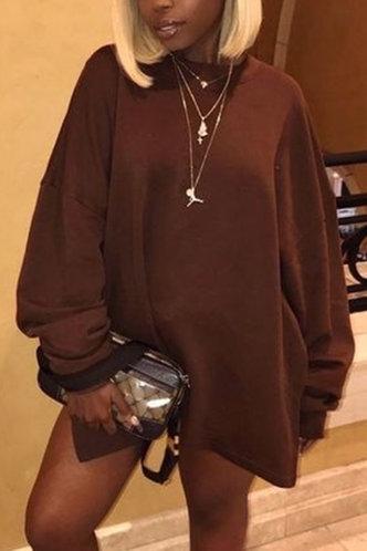 front_Casual Round Neck Plain Brown Sweatshirts & Hoodies