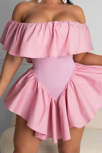 front_Delilah Elvira Baby Pink Flounce Hem Dress