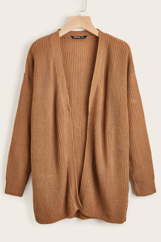 front_Makes Me Stronger Camel Rib-Knit Cardigan