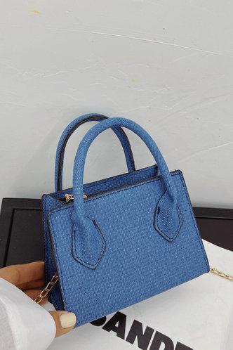 front_Faithe Fiskan Blue Satchel Bag