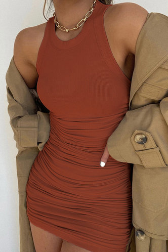 front_Carmelita Brown Ruched Dress