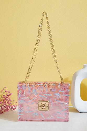 front_All Over Print Pink Shoulder Bags
