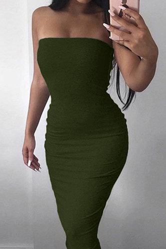 front_Noah Edwina Dark Green Ruched Dress