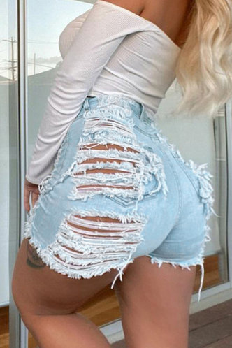 back_Milly Elizabeth Wash Light Blue Ripped Denim Shorts