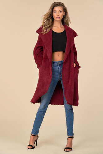 front_Casually Yours Burgundy Teddy Coat