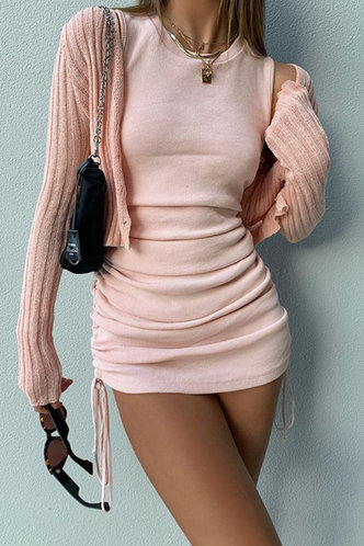 front_Georgina Sexy Pink Ruched Dress
