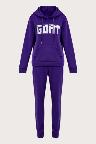 back_Letter Pocket Pullover Purple Sweatshirt Set
