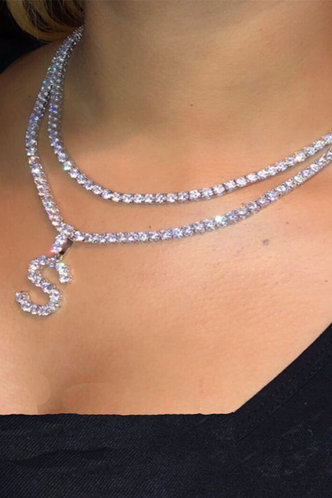 front_Nicola Elva Silver Rhinestone Charm Necklace