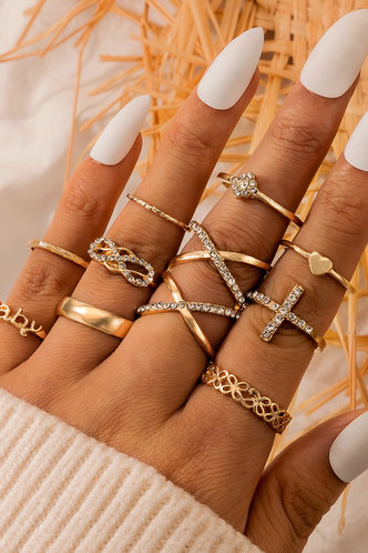 front_Annabel Elma Gold Rhinestone Detail Ring 11pcs