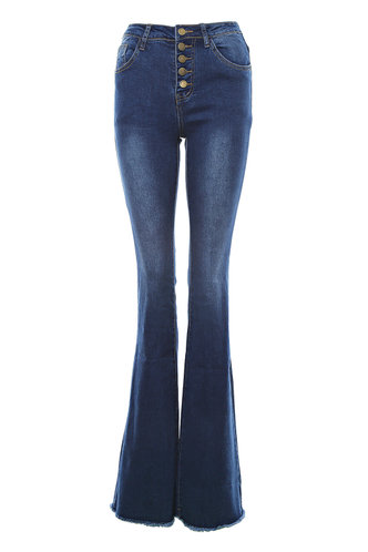 front_I'll Call You Dark Wash Flare Leg Jeans