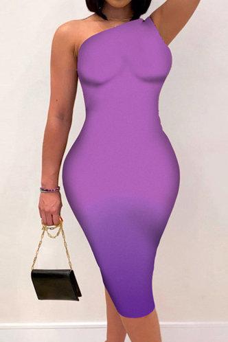 front_Mavis Enid Purple Gradient One Shoulder Bodycon Dress