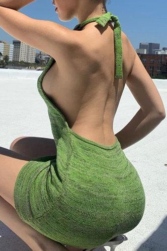 front_Debby Maksipes Green Halter Open Back Dress